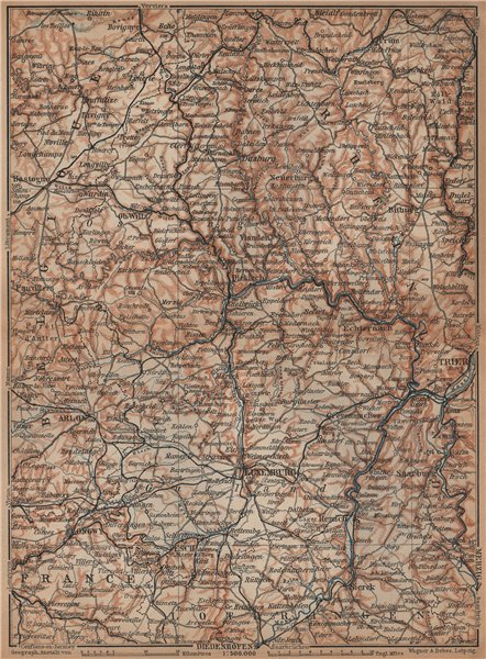 Associate Product THE GRAND-DUCHY OF LUXEMBURG LUXEMBOURG topo-map carte. BAEDEKER 1901 old