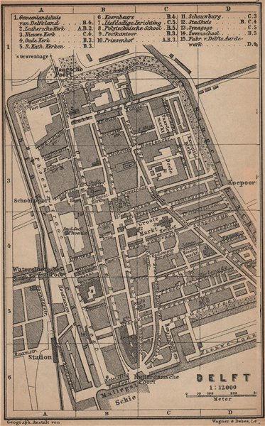 Associate Product DELFT antique town city stadsplan. Netherlands kaart. BAEDEKER 1901 old map