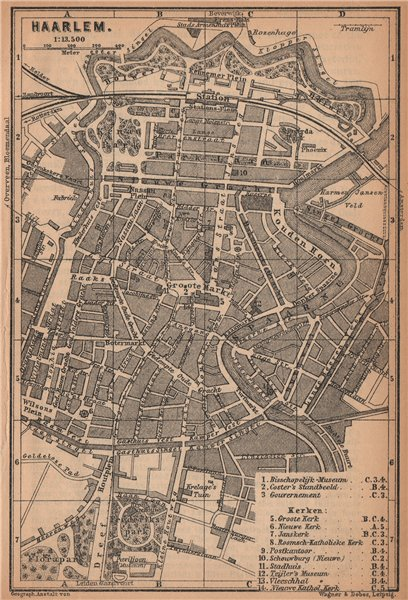 Associate Product HAARLEM antique town city stadsplan. Harlem. Netherlands kaart 1901 old map