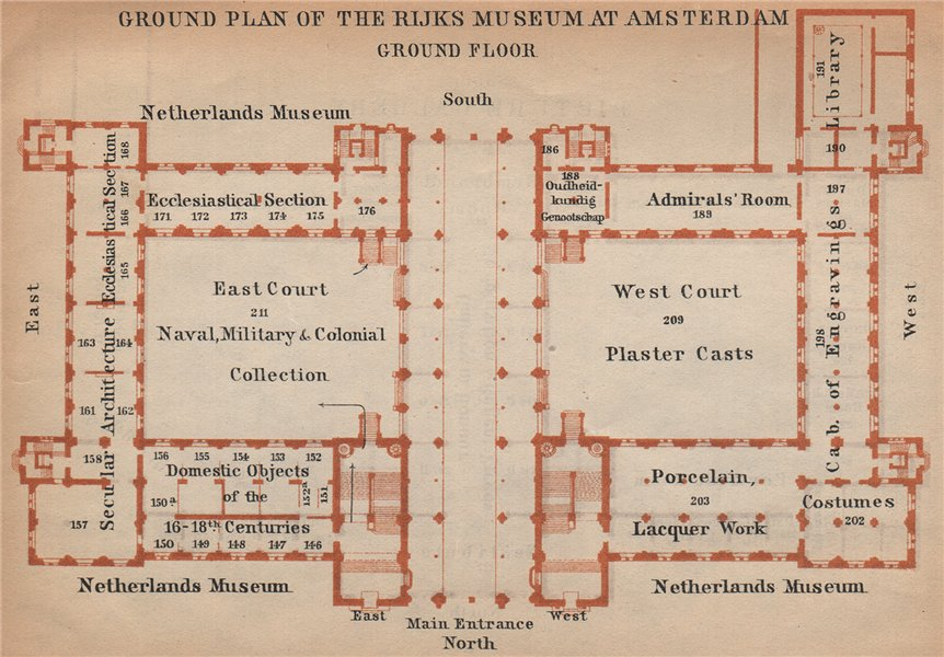 Associate Product RIJKS MUSEUM ground floor plan, Amsterdam. Netherlands kaart. BAEDEKER 1901 map