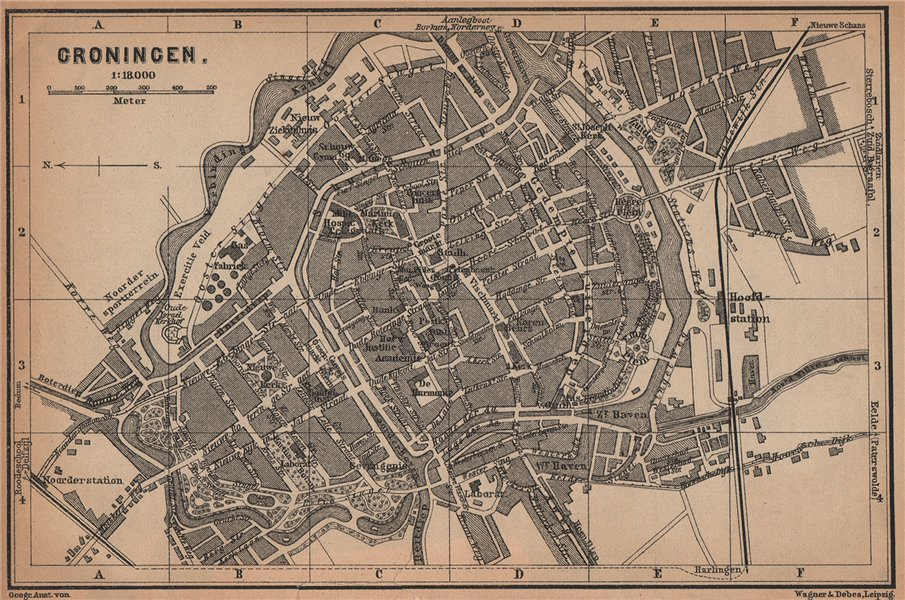 Associate Product GRONINGEN antique town city stadsplan. Netherlands kaart. BAEDEKER 1901 map