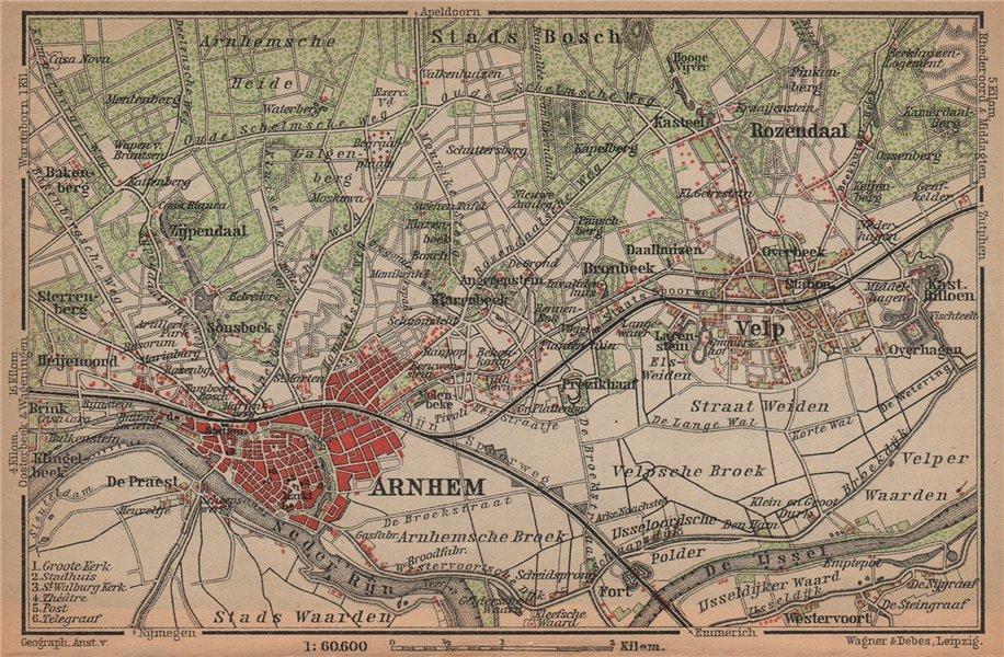 Associate Product ARNHEM ENVIRONS. Velp. Netherlands kaart. BAEDEKER 1901 old antique map chart