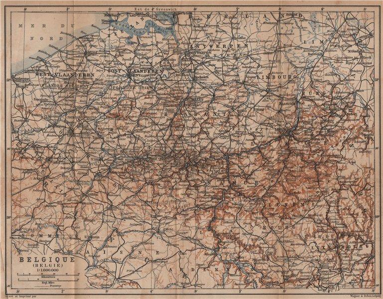 Associate Product BELGIUM BELGIQUE BELGIE General map. Provinces carte. BAEDEKER 1905 old