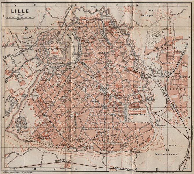 Associate Product LILLE antique town city plan de la ville. Nord. France carte. BAEDEKER 1905 map