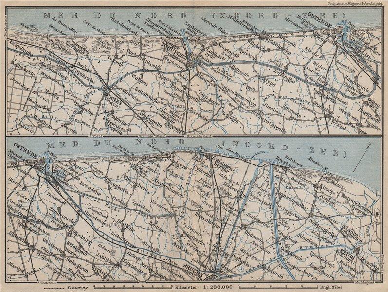 Associate Product BELGIAN NORTH SEA COAST. Bruges Ostende Niuewpoort Noord-Zee. Belgium 1905 map