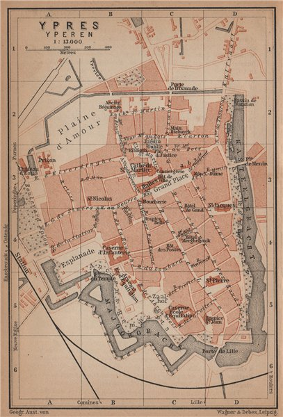 Associate Product IEPER YPRES antique town city plan. Belgium carte. BAEDEKER 1905 old map