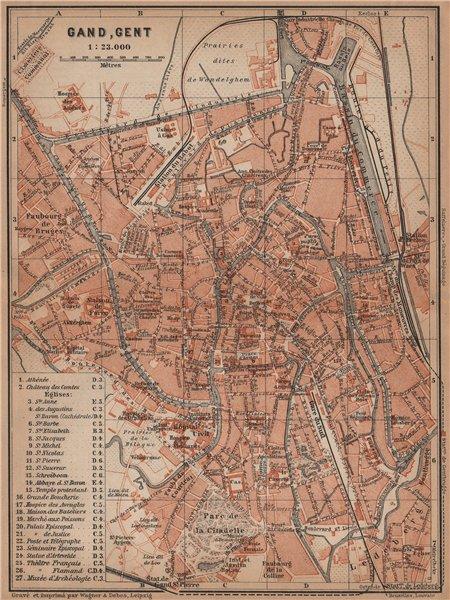 Associate Product GHENT GAND GENT antique town city plan. Belgium carte. BAEDEKER 1905 old map