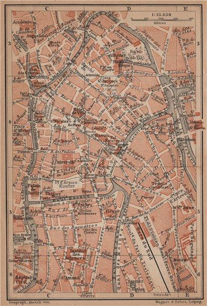 Associate Product GHENT GENT GAND antique town centre. City plan. Belgium carte 1905 old map