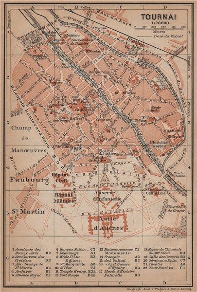 Associate Product TOURNAI DOORNIK antique town city plan. Belgium carte. BAEDEKER 1905 old map