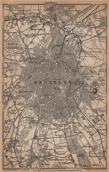 Associate Product BRUSSELS BRUXELLES BRUSSEL environs plan. Belgium carte. BAEDEKER 1905 old map