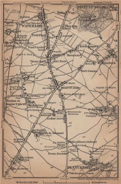 Associate Product THE BATTLEFIELD OF WATERLOO. Plancenoit. Belgium carte. BAEDEKER 1905 old map