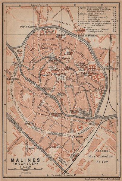 Associate Product MALINES MECHELEN MECHLIN antique town city plan. Belgium carte 1905 old map