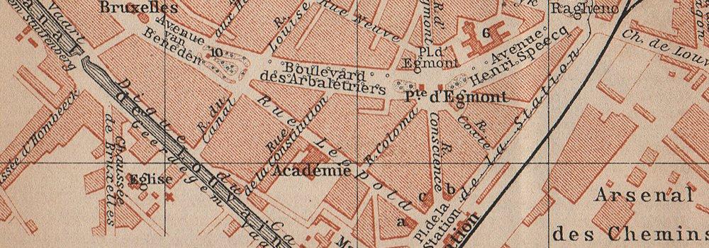 Belgium carte 1910 old map MALINES MECHELEN MECHLIN antique town city plan