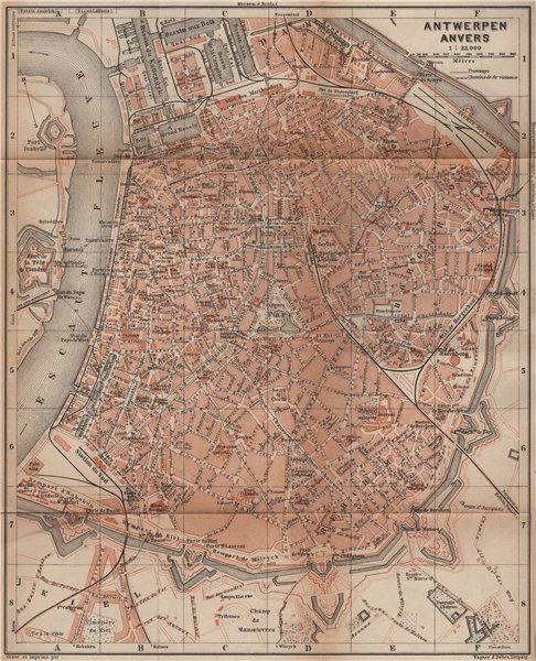 Associate Product ANTWERP ANTWERPEN ANVERS antique town city plan. Belgium carte 1905 old map