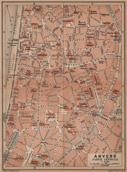 Associate Product ANTWERP ANTWERPEN ANVERS antique town centre. City plan. Belgium carte 1905 map
