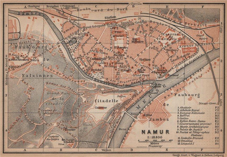 Associate Product NAMUR NAMEN NAMEUR antique town city plan. Belgium carte. BAEDEKER 1905 map