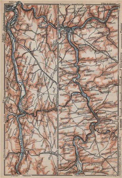 Associate Product MEUSE/MAAS RIVER. Givet-Liège-Namur-Dinant. Belgium carte. BAEDEKER 1905 map