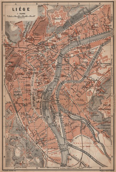 Associate Product LIEGE LIÈGE LUIK antique town city plan. Belgium carte. BAEDEKER 1905 old map