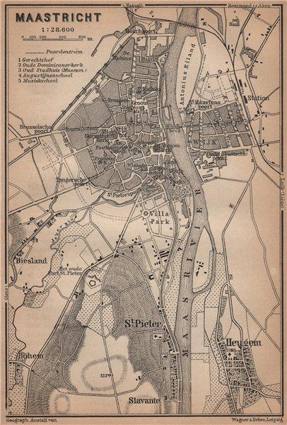 Associate Product MAASTRICHT town city plan & environs. Heugem Maestricht. Netherlands 1905 map