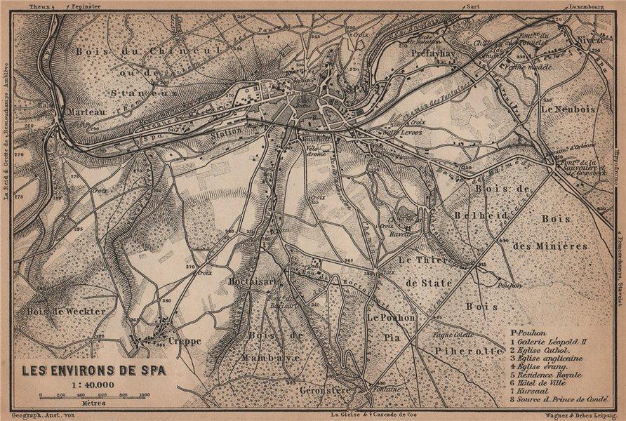 Associate Product SPA ENVIRONS. Creppe. Belgium carte. BAEDEKER 1905 old antique map plan chart
