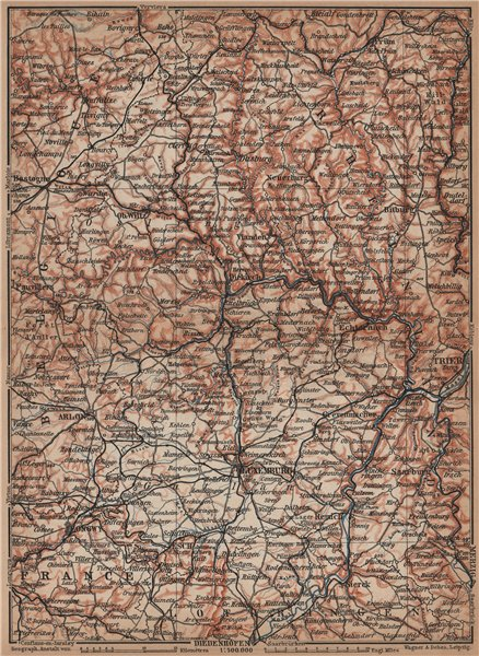 Associate Product THE GRAND-DUCHY OF LUXEMBURG LUXEMBOURG topo-map carte. BAEDEKER 1905 old