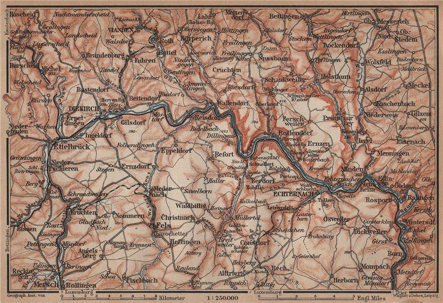 Associate Product SAUER/Sûre RIVER VALLEY. ECHTERNACH Environs. Luxembourg/Germany carte 1905 map