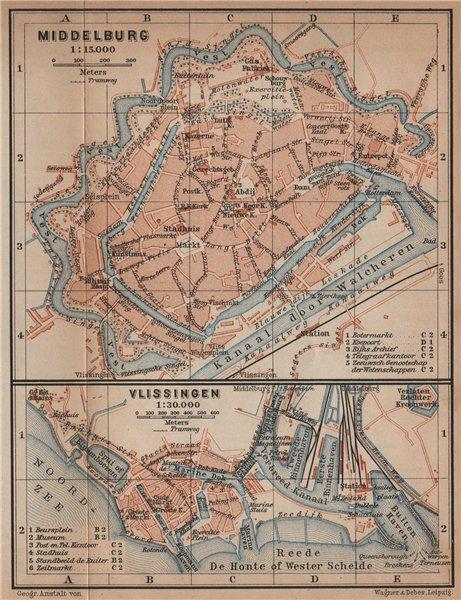 Associate Product MIDDELBURG & VLISSINGEN town city stadsplans. Flushing. Netherlands 1905 map