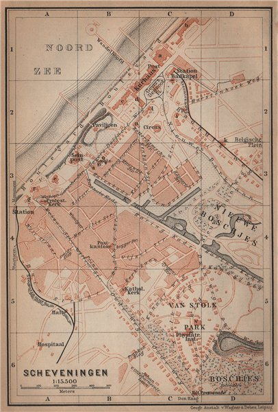Associate Product SCHEVENINGEN town city stadsplan. Den Haag The Hague. Netherlands 1905 old map