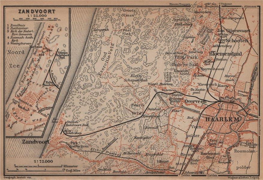 Associate Product HAARLEM & ZANDVOORT environs/town city stadsplan. Netherlands kaart 1905 map