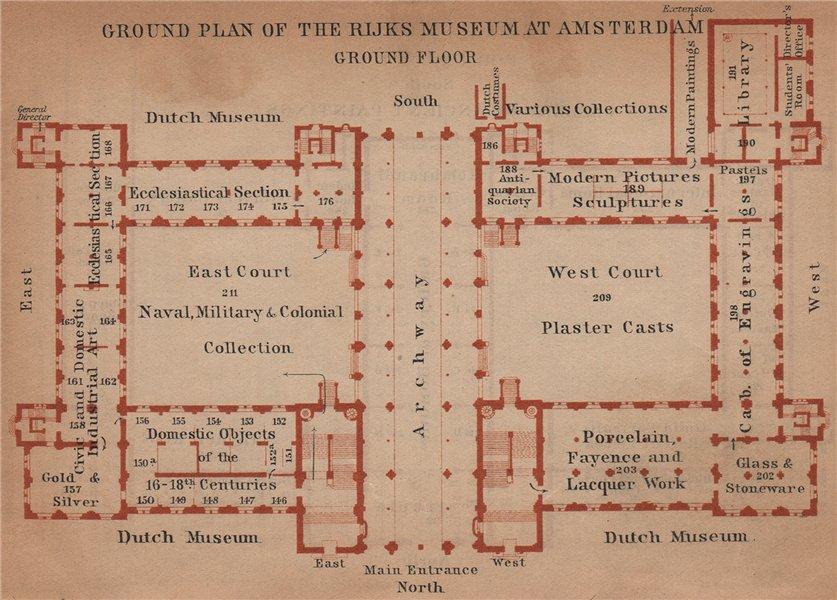 Associate Product RIJKS MUSEUM ground floor plan, Amsterdam. Netherlands kaart. BAEDEKER 1905 map