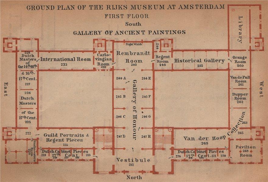Associate Product RIJKS MUSEUM first floor plan, Amsterdam. Netherlands kaart. BAEDEKER 1905 map