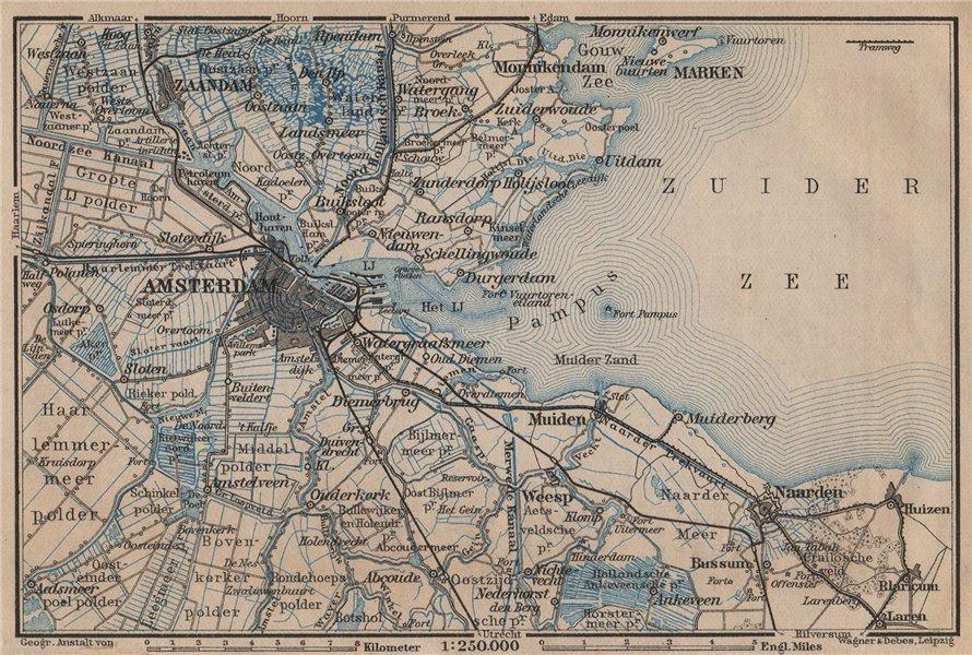 Associate Product AMSTERDAM environs. Utrecht Leiden haarlem Zaandam. Netherlands kaart 1905 map