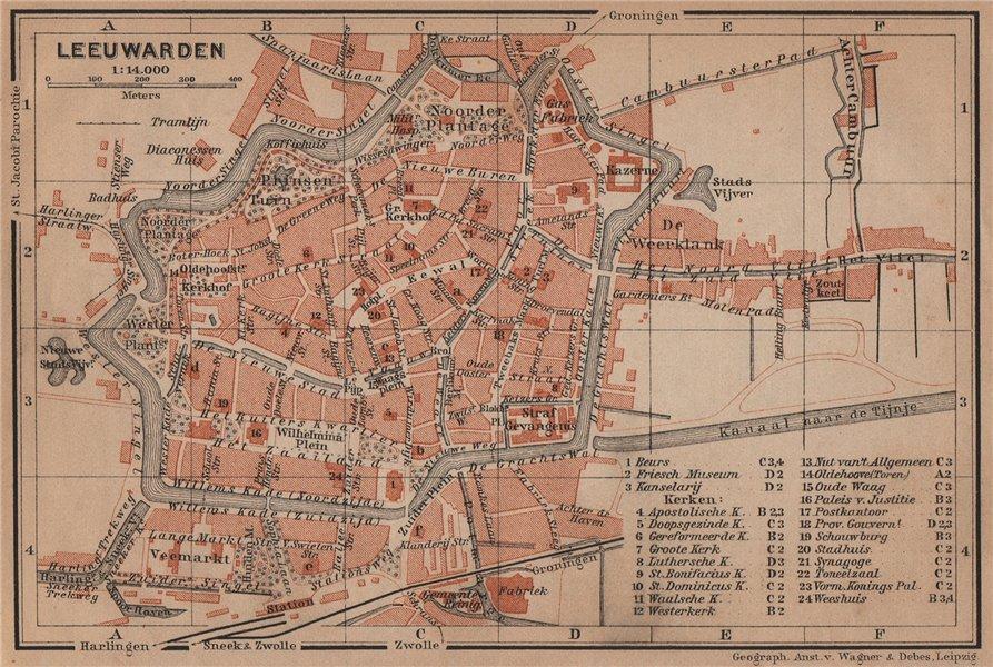 Associate Product LEEUWARDEN antique town city stadsplan. Netherlands kaart. BAEDEKER 1905 map