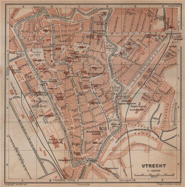 Associate Product UTRECHT antique town city stadsplan. Netherlands kaart. BAEDEKER 1905 old map