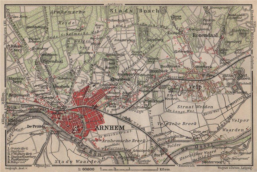Associate Product ARNHEM ENVIRONS. Velp. Netherlands kaart. BAEDEKER 1905 old antique map chart