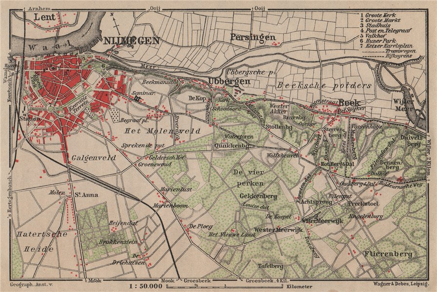 Associate Product NIJMEGEN environs. Beek Ubbergen Lent. Netherlands kaart. BAEDEKER 1905 map