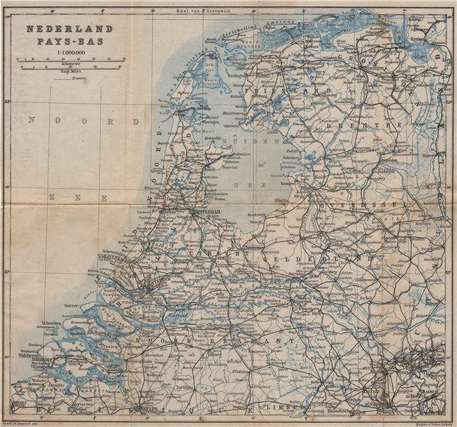 Associate Product HOLLAND NEDERLAND PAYS-BAS General map. Netherlands kaart. BAEDEKER 1905