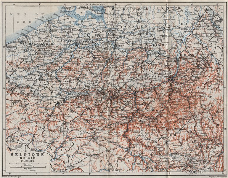 BELGIUM BELGIQUE BELGIE General map. Provinces carte. BAEDEKER 1910 old