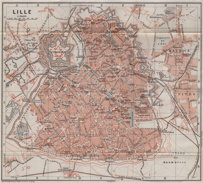 Associate Product LILLE antique town city plan de la ville. Nord. France carte. BAEDEKER 1910 map