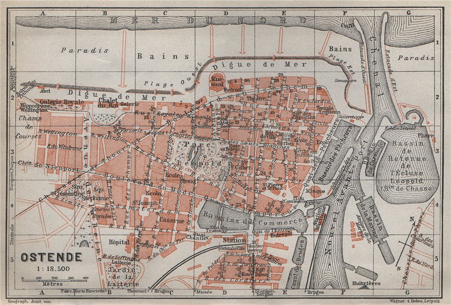 Associate Product OOSTENDE OSTEND OSTENDE antique town city plan. Belgium carte 1910 old map