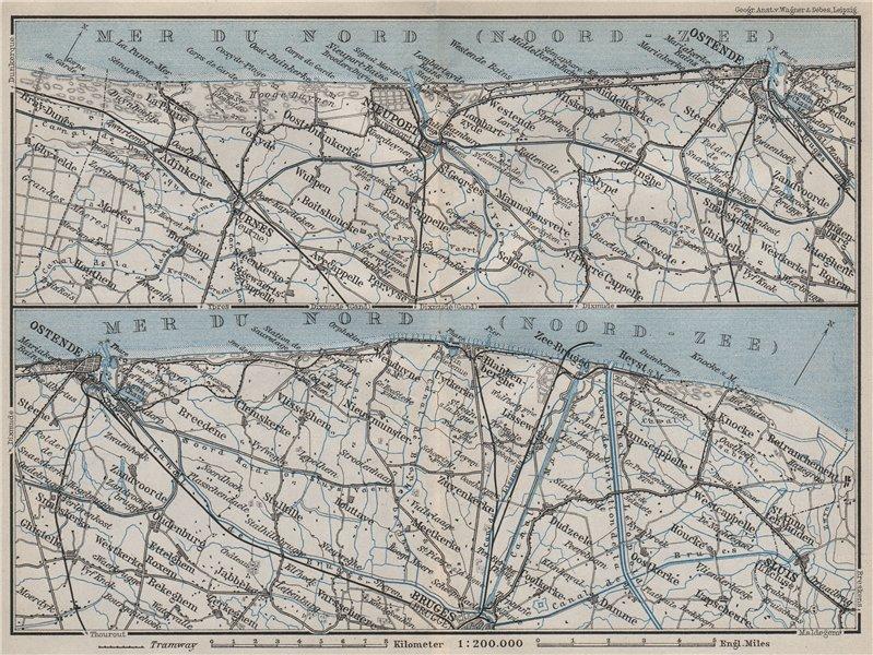 Associate Product BELGIAN NORTH SEA COAST. Bruges Ostende Niuewpoort Noord-Zee. Belgium 1910 map