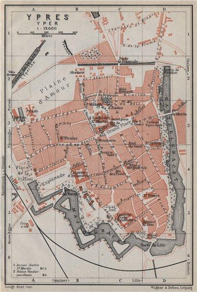 Associate Product IEPER YPRES antique town city plan. Belgium carte. BAEDEKER 1910 old map