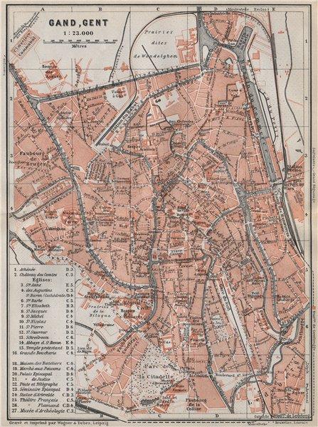 Associate Product GHENT GAND GENT antique town city plan. Belgium carte. BAEDEKER 1910 old map