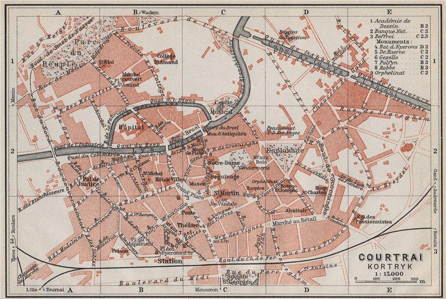 KORTRIJK COURTRAI antique town city plan. Belgium carte. BAEDEKER 1910 old map