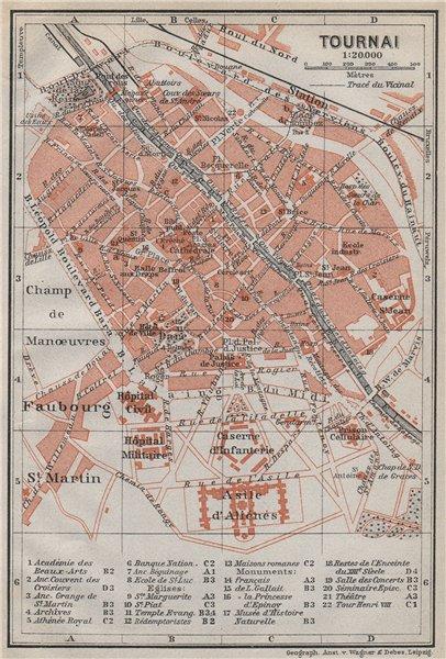 Associate Product TOURNAI DOORNIK antique town city plan. Belgium carte. BAEDEKER 1910 old map
