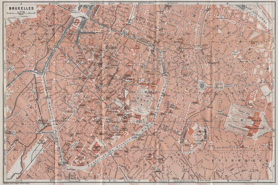 Associate Product BRUSSELS BRUXELLES BRUSSEL town city plan de la ville. Belgium carte 1910 map