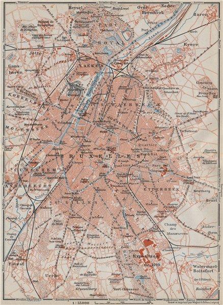 Associate Product BRUSSELS BRUXELLES BRUSSEL environs plan. Belgium carte. BAEDEKER 1910 old map