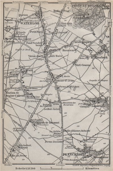 Associate Product THE BATTLEFIELD OF WATERLOO. Plancenoit. Belgium carte. BAEDEKER 1910 old map
