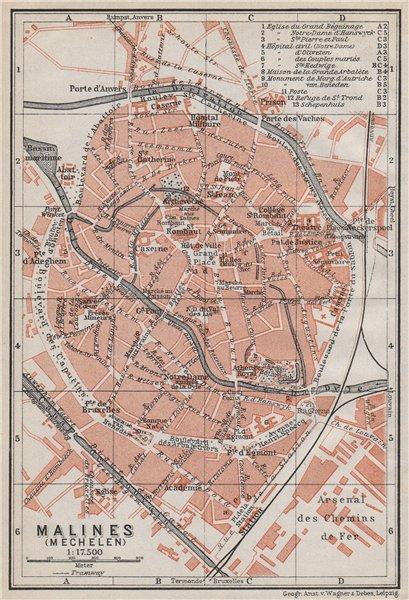 Associate Product MALINES MECHELEN MECHLIN antique town city plan. Belgium carte 1910 old map