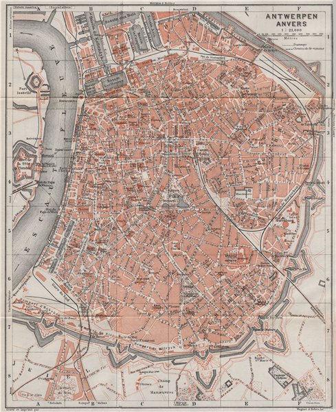 Associate Product ANTWERP ANTWERPEN ANVERS antique town city plan. Belgium carte 1910 old map